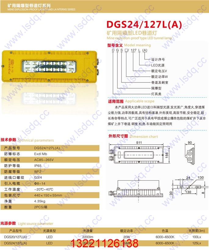 DGS50/127L(A)LED方形巷道灯